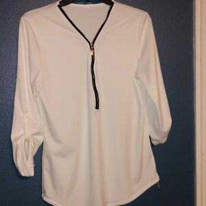 White 3/4 sleeve blouse
